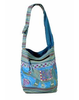 Taška přes rameno s výšivkou slona, tyrkysovo-fialová, 37x36cm