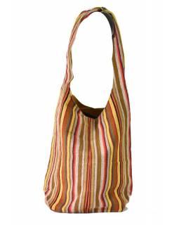 "Taška přes rameno, ""ghari barevné proužky"", kapsy, zip, 35x42cm"