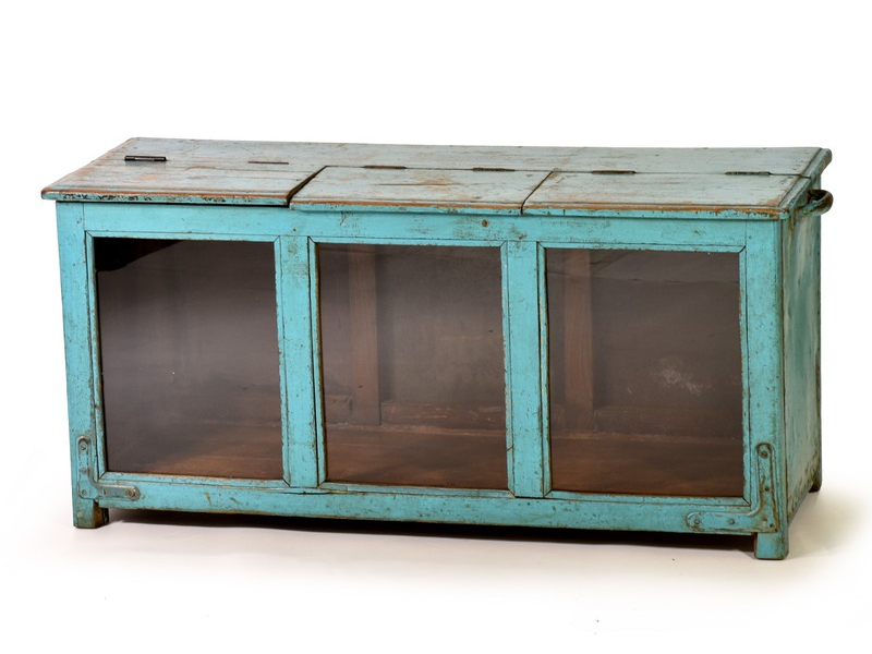 Prosklená skříňka, starý teak, modrá patina, 90x34x42cm