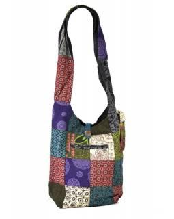 Taška přes rameno, patchwork, tisk, bavlna, 38x39cm