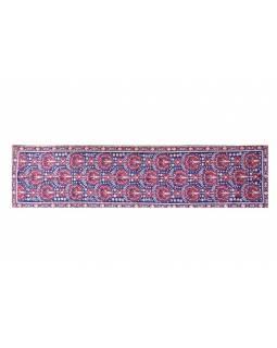 Ručně vyšívaný koberec/tapiserie, výšivka z kašmírské vlny, 296x76cm