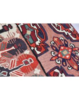 Ručně vyšívaný koberec/tapiserie, výšivka z kašmírské vlny, 150x90cm