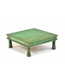 Čajový stolek z teakového dřeva, modrá patina, 59x59x23cm