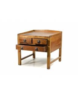 Odkládací stolek se šuplíky z teakového dřeva, 50x50x49cm