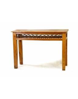 Odkládací kozolový stolek z teakového dřeva s kováním, 110x41x76cm
