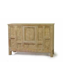 Barpult z teakového dřeva, ze předu ruční řezby, zezadu šuplíky, 140x40x98cm
