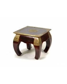 Odkládací stolek z palisandru, mosazné kování, 34x34x30cm