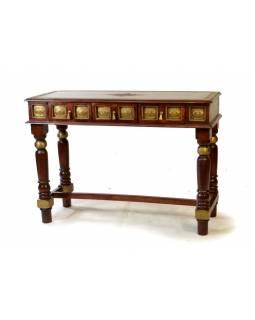 Odkládaci stolek z palisandru, mosazné kování, 118x47x86cm