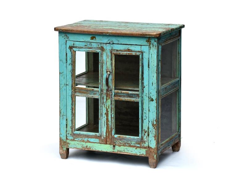 Prosklená skříňka z antik teakového dřeva, modrá patina, 65x47x79cm