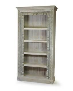 Knihovna z antik teakového dřeva, ruční řezby, 109x43x213cm