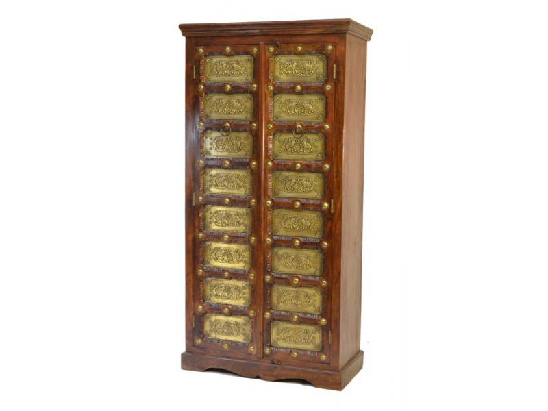 Skříň z palisandrového dřeva, mosazné kování, 90x40x180cm