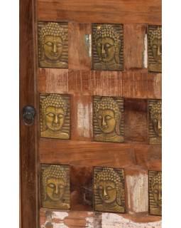 Skříň z antik teakového dřeva, zdobená mosaznými Buddhy, 60x40x120cm