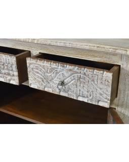 Komoda ze starého teakového dřeva, zaoblené boky, ruční řezby, 89x38x82cm