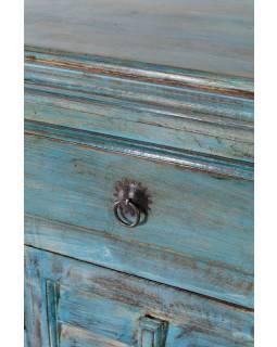 Komoda ze starého teakového dřeva, tyrkysová patina, 90x40x91cm