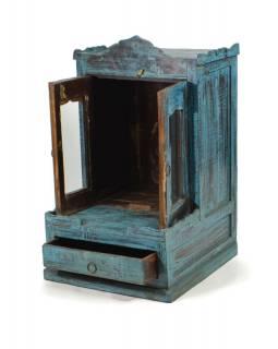 Prosklená skříňka ze starého teakového dřeva, tyrkysová patina,  47x50x75cm