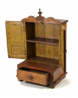 Prosklená skříňka ze starého teakového dřeva, 49x33x80cm