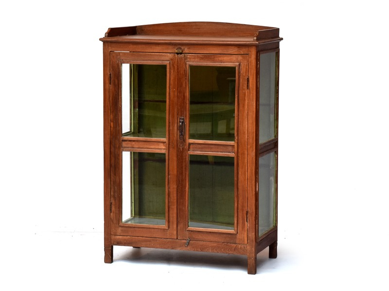 Prosklená skříňka z antik teakového dřeva, 76x45x110cm
