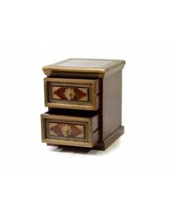 Skříňka se 2 šuplíky, palisandr, kování, 50x51x64cm
