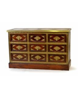 Skříňka s 9 šuplíky, palisandr, kování, 120x46x77cm