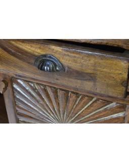Komoda z teaku, antik, ručně vyřezávaná, 127x66x102cm