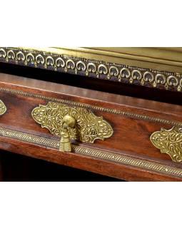 Komoda z palisandrového dřeva s mosazným kováním, 120x46x77cm
