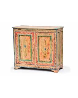 Ručně malovaná barevná komoda, starý teak, 94x43x87cm