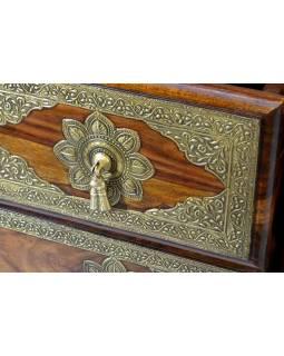 Šuplíková komoda z palisandrového dřeva, mosazné kování, 130x40x75cm