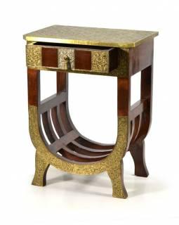 Noční stolek z palisandrového dřeva, mosazné kování, 46x31x60cm