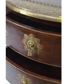 Komoda z palisandrového dřeva, 4 šuplíků, mosazné kování, 46x40x77cm