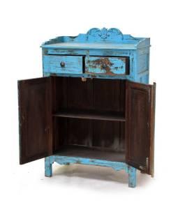 Skříňka z antik teakového dřeva, tyrkysová patina, 77x40x120cm