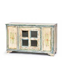 Ručně malovaná barevná komoda, starý teak, 115x42x71cm