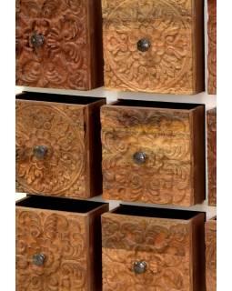 Komoda z teakového dřeva, šuplíky zdobené starými řezbami, 85x35x90cm