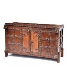 Komoda z antik teakového dřeva, dvířka ze starých okenic, 108x55x70cm