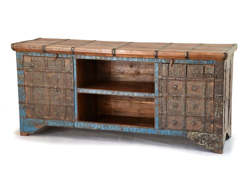 Komoda pod TV z teakového dřeva, železné kování,  145x44x65cm