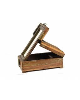 """Box se zrcátkem """"Barber Box"""", antik úprava, starý teak, 14x26x11cm"""