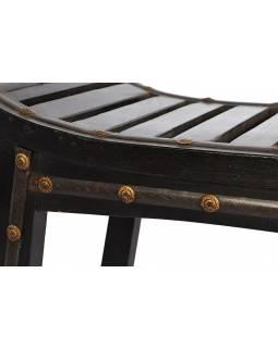 Stolička, žebrování, tmavá s mosazným kováním, mango, 105x34x48cm