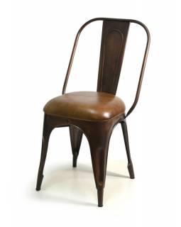 Kovová židle s koženým polstrováním, 48x53x94cm