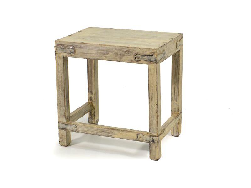 Dřevěná stolička z teakového dřeva, bílá patina, 45x30x47cm