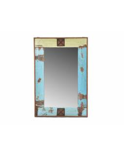 Rám se zrcadlem ze starého teakového dřeva, tyrkysová patina, 63x93x4cm