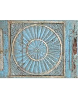 Rám se zrcadlem ze starého teakového dřeva, tyrkysová patina, 165x50x5cm