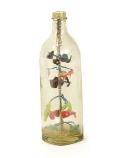 Antik skleněná láhev se stromem života, 7x7x26cm