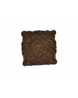 Block print, dřevěné razítko na tisk přehozů, antik, 14x14cm