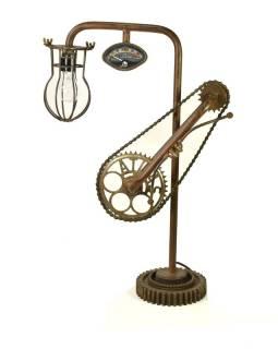 """Lampička v designu """"Steamp punk"""" z recyklovaných součástek, 48x20x70cm"""