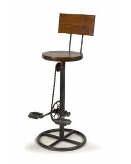 Železná barová židle z recyklovaných součástek, 42x42x102cm
