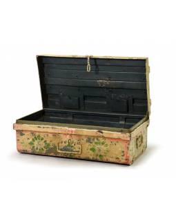 Plechový kufr, ručně malovaný, bílý, 69x38x25cm