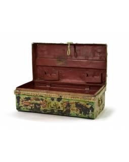 Plechový kufr, ručně malovaný, zelený, 69x38x25cm