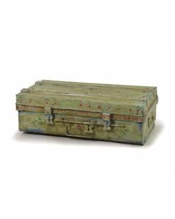 Plechový kufr, ručně malovaný, tyrkysový, 69x38x25cm