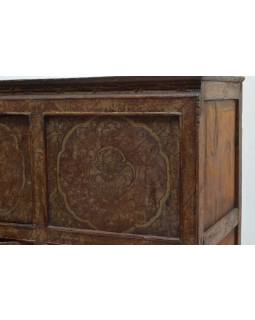 Ručně malovaná dřevěná antik komoda z Tibetu, 156x42x96cm