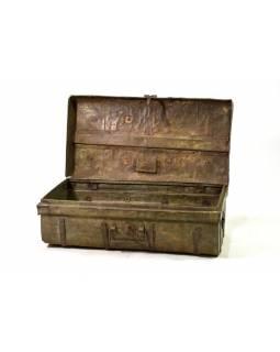 Plechový kufr, zelený, 67x38x29cm