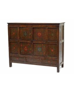 Ručně malovaná dřevěná antik komoda z Tibetu, 126x43x105cm